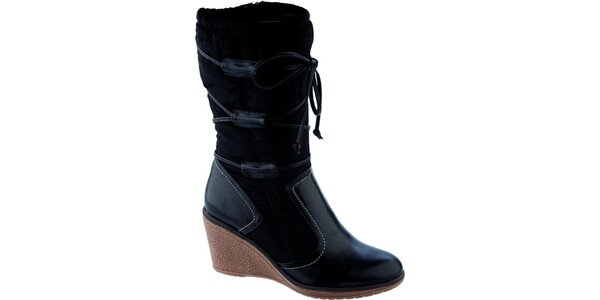 Dámske čierne vysoké topánky na kline Betsy