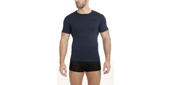 Pánske tmavo modré tričko s krátkym rukávom QBO