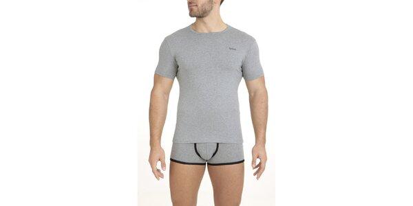 Pánske šedé tričko s véčkovým výstrihom QBO