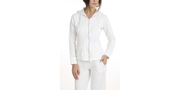 Dámska krémovo biele pyžamo s mikinou QBO