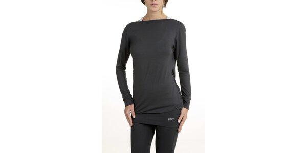 Dámske šedé pyžamo s rafinovaným chrbátom QBO