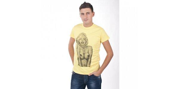 Pánske svetlo žlté tričko De Puta Madre 69 s Marilyn