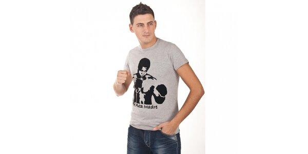 Pánske svetlo šedé tričko De Puta Madre 69 s potlačou