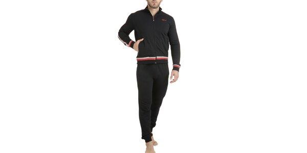 Pánske čierne pyžamo - mikina a nohavice QBO