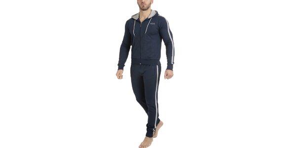 Pánske tmavo modré pyžamo - mikina a nohavice QBO
