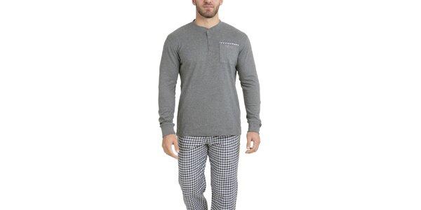 Pánske šedé tričko na spanie QBO