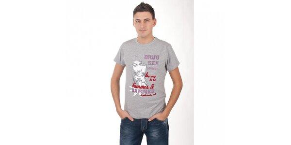 Pánske svetlo šedé melírované tričko De Puta Madre 69 s potlačou