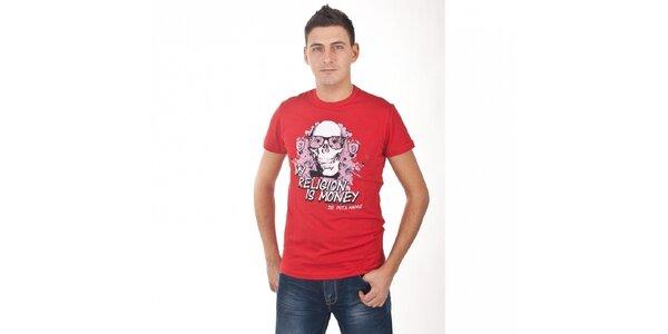 Pánske červené tričko De Puta Madre 69 s potlačou