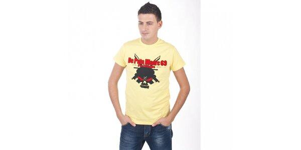 Pánske svetlo žlté tričko De Puta Madre 69 s potlačou