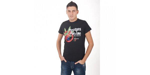 Pánske čierne tričko De Puta Madre 69 s potlačou