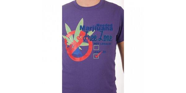 Pánske fialové tričko De Puta Madre 69 s potlačou