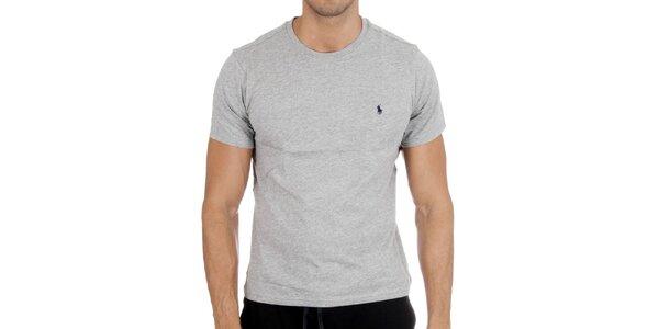 Pánske svetlo šedé tričko Polo Ralph Lauren