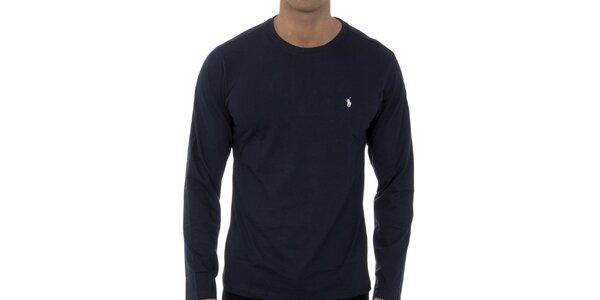Tmavo modré tričko Ralph Lauren s dlhým rukávom