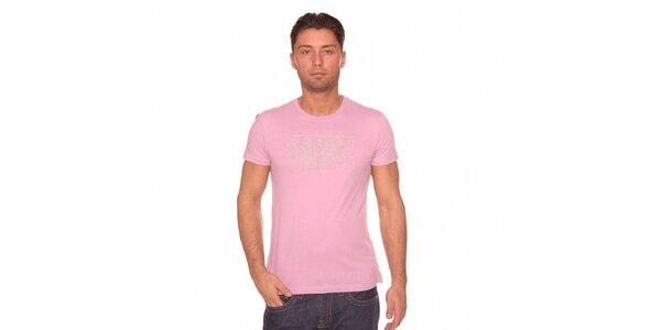 Pánske ružové tričko Calvin Klein s šedivou potlačou