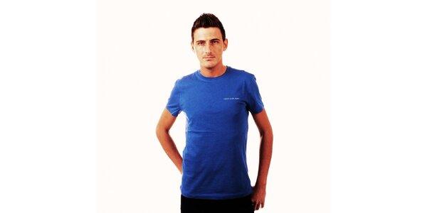 Pánske žiarivo modré tričko Calvin Klein