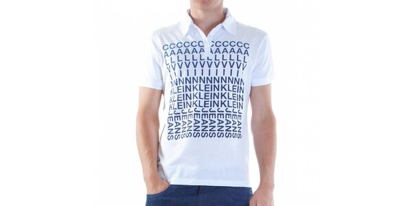 Pánske biele polo Calvin Klein s modrou potlačou