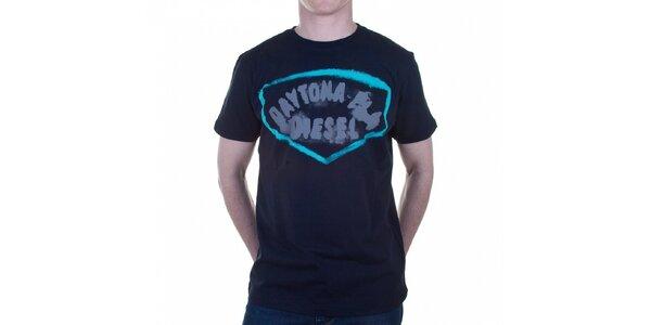 Pánske tmavo modré tričko Diesel s potlačou