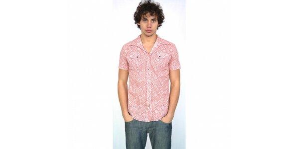 Pánska svetlo ružová košeľa Energie s potlačou