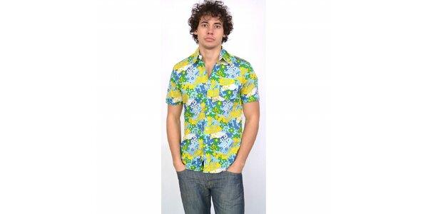 Pánska modro-žlto-zelená havajská košeľa Energie