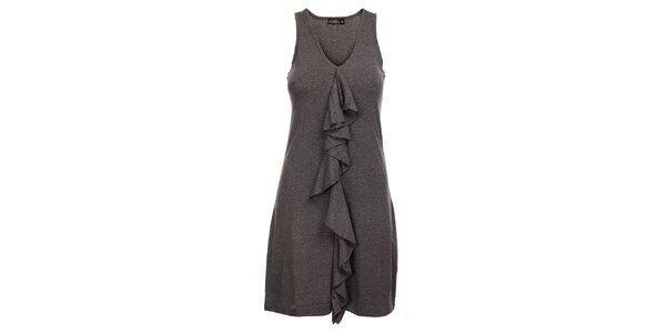 Dámske šedé melírované šaty Velvet Kitten s volánom