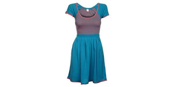 Dámske modro-ružové prúžkované šaty Pussy Deluxe