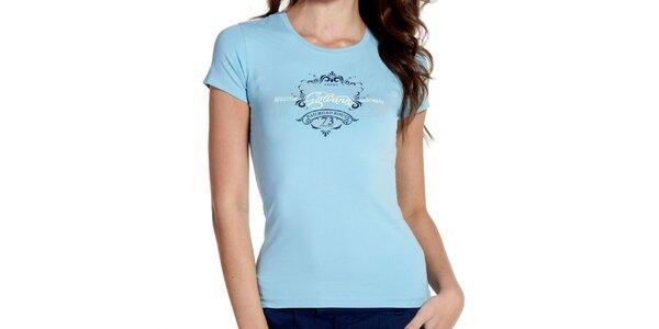 Dámske bledo modré tričko s potlačou Galvanni