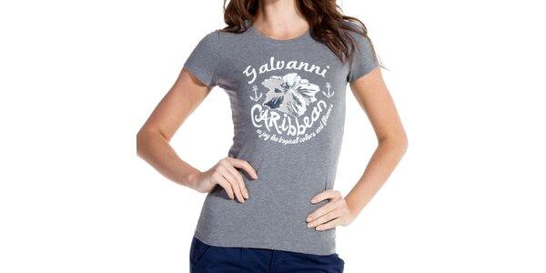 Dámske šedé tričko s potlačou Galvanni