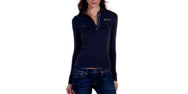 0117eec4443f Luxusné dámske oblečenie pre náročných Galvanni. Táto kampaň už skončila.  Dámske tmavo modré polo s náprsnými vreckami Galvanni