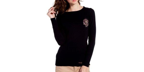 Dámsky čierny vlnený svetrík s výšivkou Galvanni