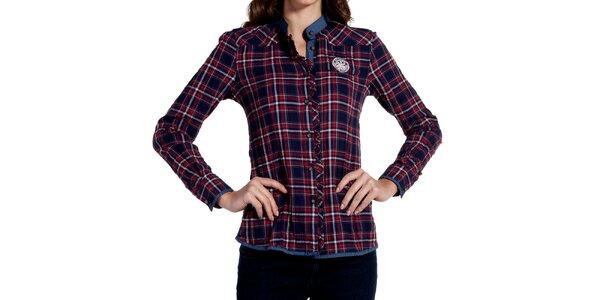 Dámska modročervená kockovaná košeľa Galvanni