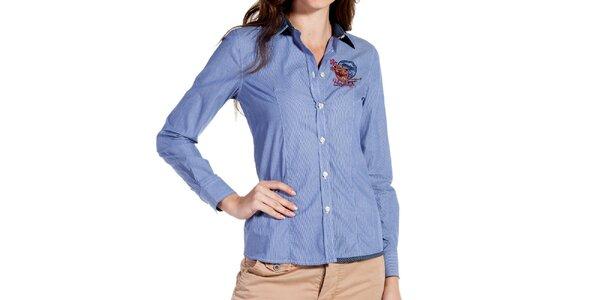 Dámska svetlo modrá prúžkovaná košeľa Galvanni