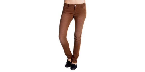 Dámske hnedé džínsy s šisovaním Galvanni