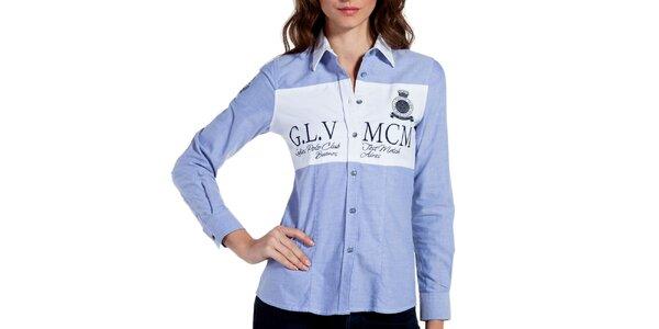 Dámska svetlo modrá košeľa s lakťovými nášivkami Galvanni