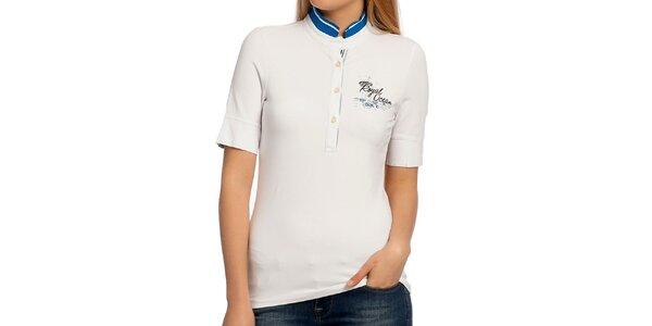 Dámske biele tričko so stojáčikom Galvanni