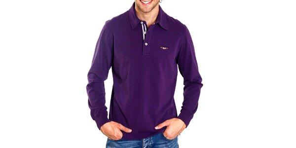 Pánske fialové polo s dlhým rukávom Galvanni