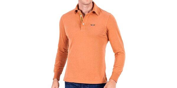 Pánske oranžové polo s dlhým rukávom Galvanni