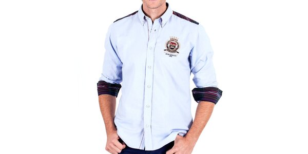 Pánska bledo modrá športová košeľa s lakťovými nášivkami Galvanni