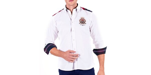 Pánska biela športová košeľa s lakťovými nášivkami Galvanni