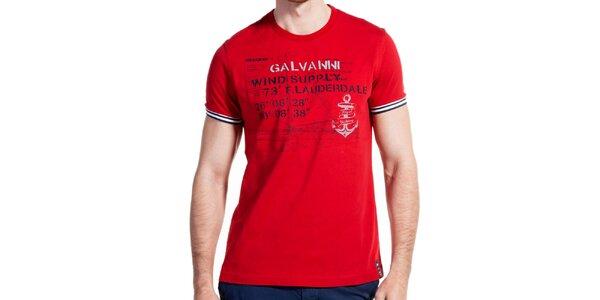b7adfb885725 Pánske červené tričko s potlačou a pruhovanými lemami Galvanni