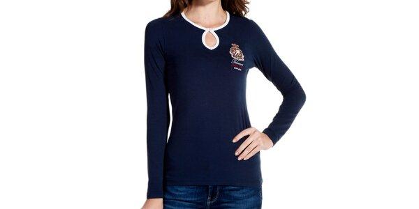Dámske tmavo modré tričko s kvapkovým vykrojením a výšivkou Galvanni