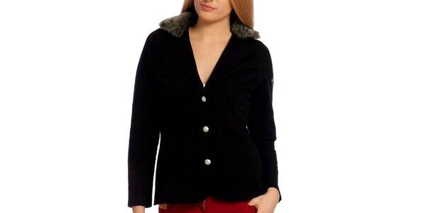 Dámske čierne sako s kožúškom Galvanni