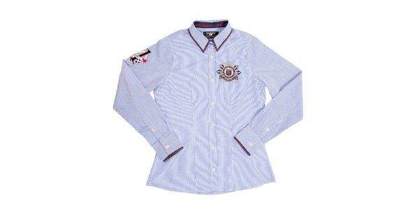 Dámska bledo modrá prúžkovaná košeľa Galvanni