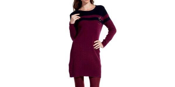 Dámske vínové šaty s dlhým rukávom Galvanni