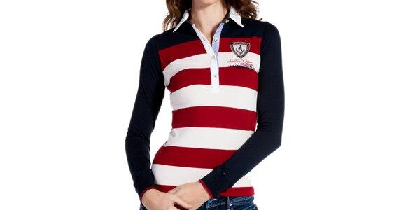 Dámske červenobiele pruhované tričko s tmavými rukávmi Galvanni