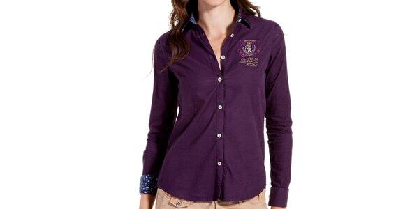 Dámska fialová košeľa s výšivkou Galvanni