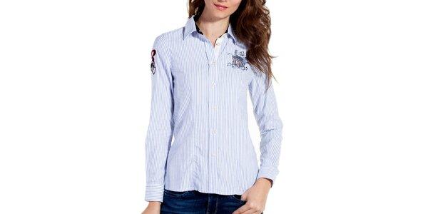 Dámska svetlo modrá prúžkovaná športová košeľa Galvanni