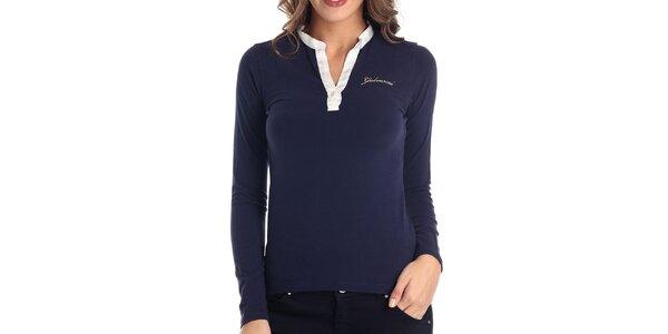 Dámske modré tričko s bielym límčekom a dlhým rukávom Galvanni