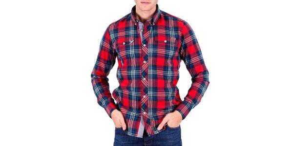 Pánska červená košeľa s kockami Galvanni