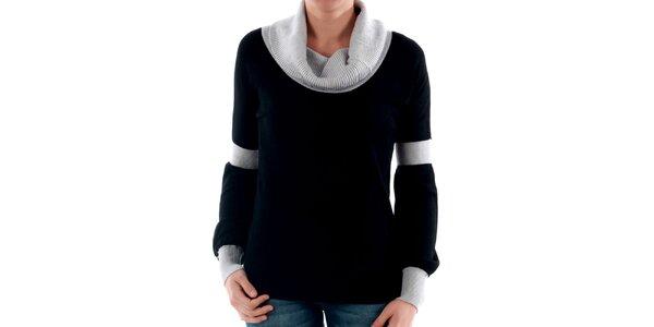 Originálny čierny sveter s kontrastným rolákom Amy Gee