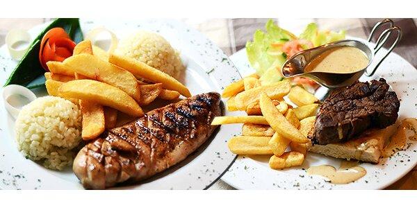 Hovädzí alebo kurací steak s hranolkami